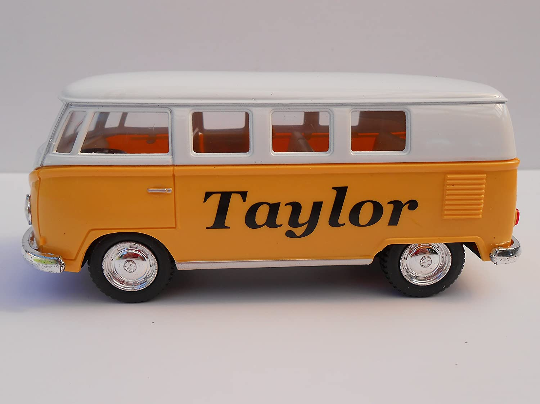 Personalised toy car VW CAMPER VAN CREW BUS ANY NAME boy girl mom dad Birthday Gift NEW BURGUNDY