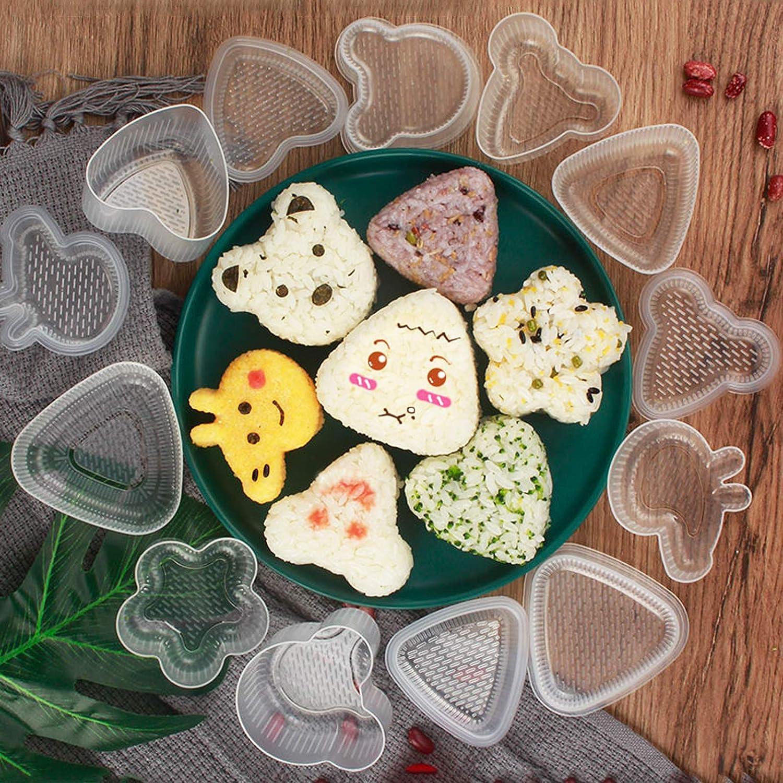 Onigiri Mould 12 Pcs Cartoon Sushi Shape Bento Press Make Onigiri Press Mold Rice Balls Triangle Shape for Sushi Restaurants Japanese Cuisine Home Office Camping Pig Bear Heart Flower Triangle