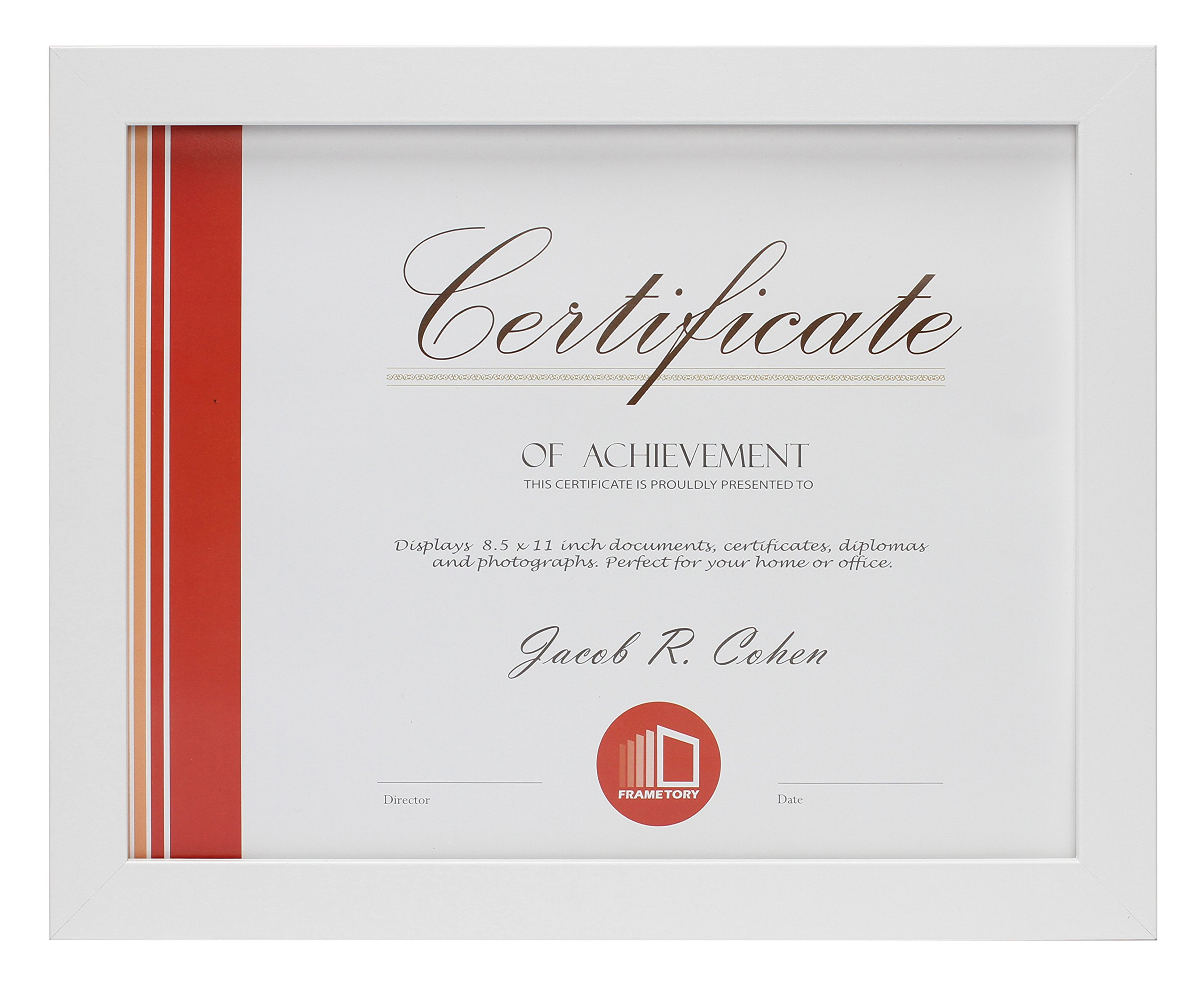 Frametory, Document Frame - Made to Display Certificates 8.5x11 Inch - Document Frames, Certificate Frames, Standard Paper Frame (8.5x11, White) by Frametory