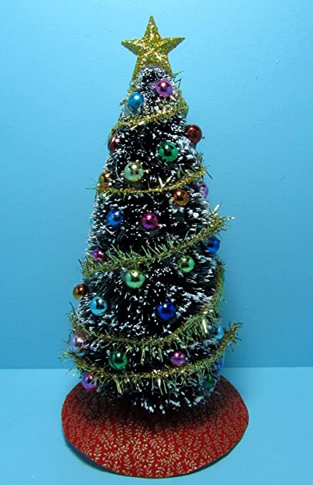 dollhouse miniature fully decorated christmas tree in multi color decor sc750