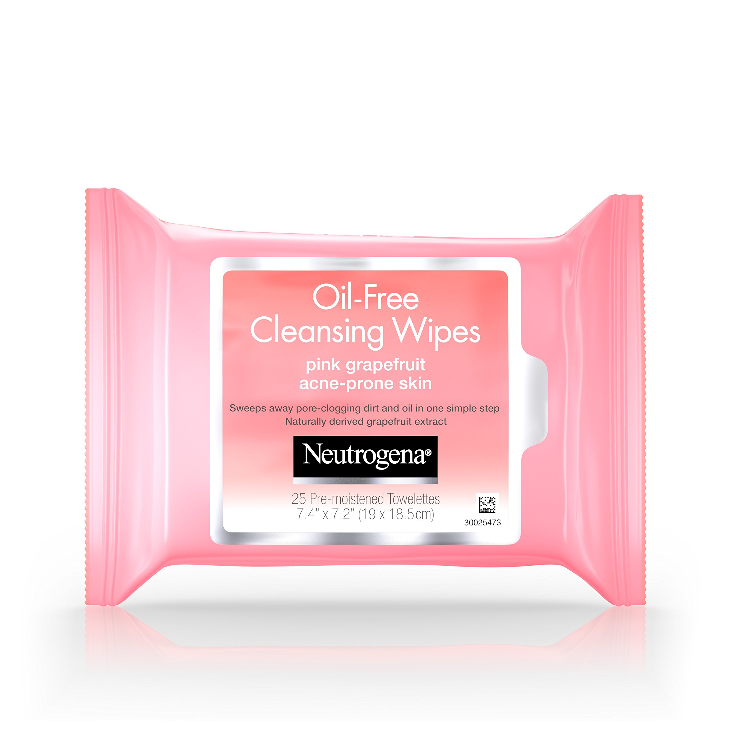 Neutrogena Oil Free Facial Cleansing Makeup Wipes with Pink Grapefruit, Disposable Acne Face Towelettes to Remove Dirt, Oil, and Makeup for Acne Prone Skin, 25 ct (Pack of 6) by Neutrogena (Image #1)
