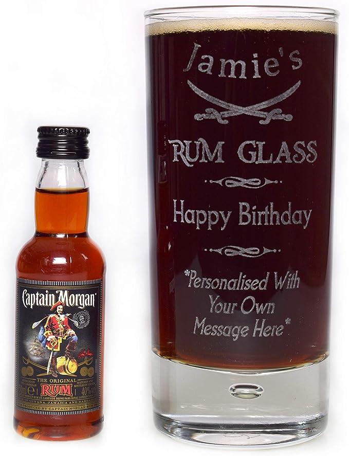 Grabado/placa personalizable en inglés para vasos altos de con texto en inglés y Ron y Capitán MORGAN miniatura de regalo para ...