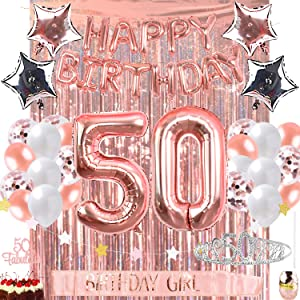 OUGOLD 50th Birthday Decorations Party Supplies 50 & Fabulous Cake Topper Rose Gold Happy Birthday Balloons Birthday Crystal Tiara & sash Backdrop Curtain Photo booth