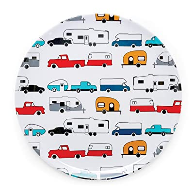 Camco Life is Better at The Campsite Large Dinner Plate - White with Multicolor Retro RV, Camper, and Trailer Print, BPA Free, Melamine (53224): Automotive [5Bkhe0115335]