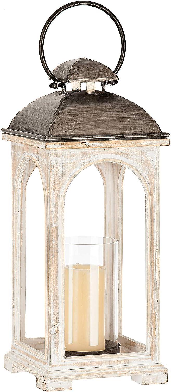 White and gray wood lantern