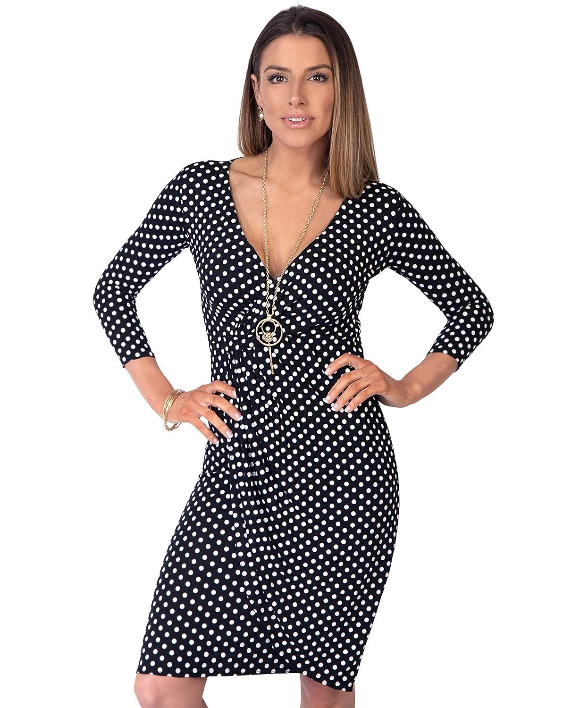 TALLA 42. KRISP Vestido Moda Mujer Fruncido Negro (6487) 42