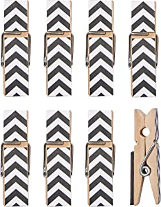 8 Pack Clothes Pin Magnetic Clips for Refrigerator, Home or Office | Decorative Chevron Styles (Black)