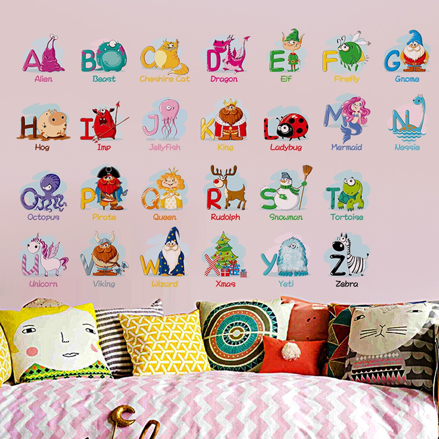 Elie ELVO Colorful Cartoon Alphabet ABC Kids Wall Decals,Removable Fun Educational Wall Stickers Watercolour Wall Decals for Kids Nursery Bedroom Living Room EE ELIE ELVO