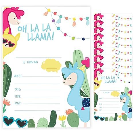 Llama Style 2 Tarjetas De Invitación Para Cumpleaños 10