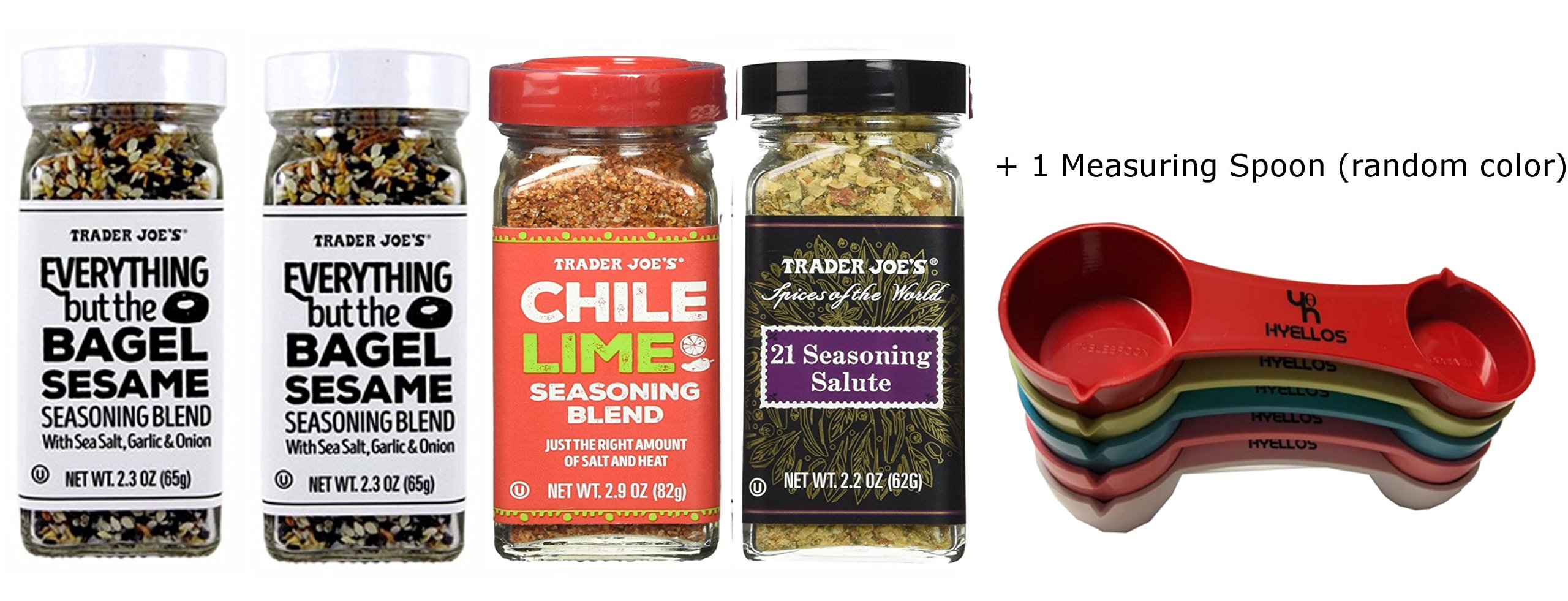 Trader Joes Everything But The Bagel Sesame Seasoning Blend (2 Pack), Chile Lime, 21 Seasoning Salute and Exclusive Hyellos Measuring Spoon