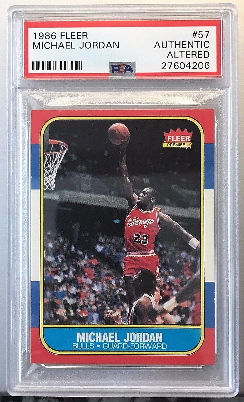 f28a291733cfe Amazon.com: Michael Jordan 1986 Fleer Basketball Rookie Card #57 PSA ...