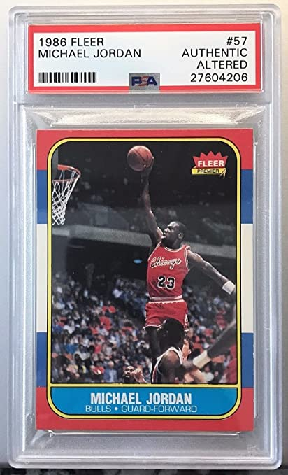 7b4fdb3342b06d Amazon.com  Michael Jordan 1986 Fleer Basketball Rookie Card  57 PSA Authen  Altered 27604206  Sports Collectibles