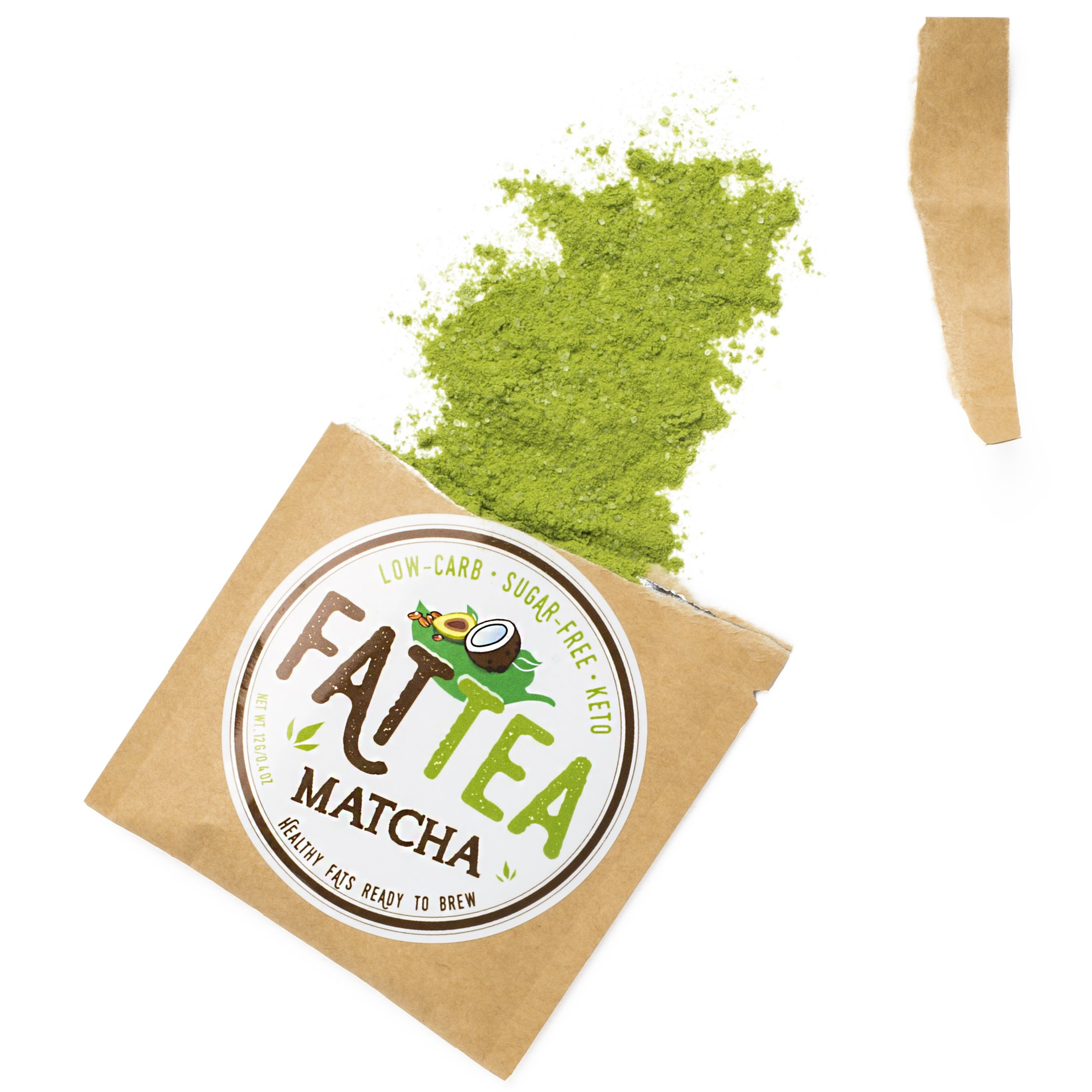 Fat Snax Fat Tea with MCTs - Delicious Keto-Friendly Matcha Tea Powder for Ketosis (10 Packets)