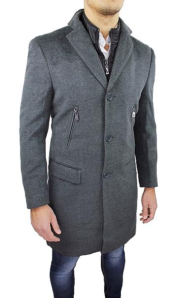 Cappotto Uomo Sartoriale Grigio Slim Fit Giacca Soprabito Invernale Lana  Casual Elegante con Gilet  Amazon.it  Abbigliamento 0150cbf3a4d