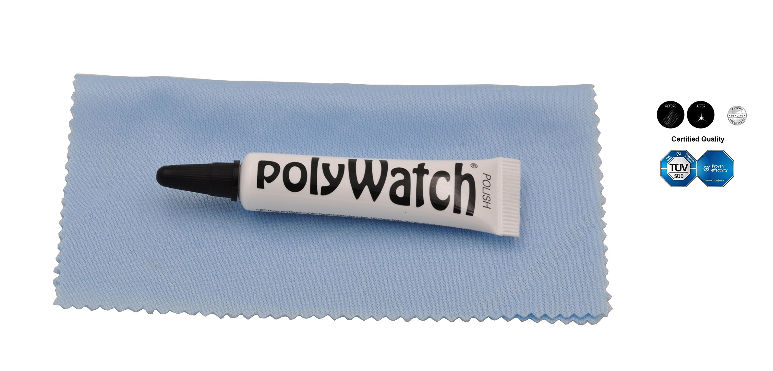 New Polywatch Plastic Crystal Glass Polish & Scratch Remover Repair Tool Set With Cloth