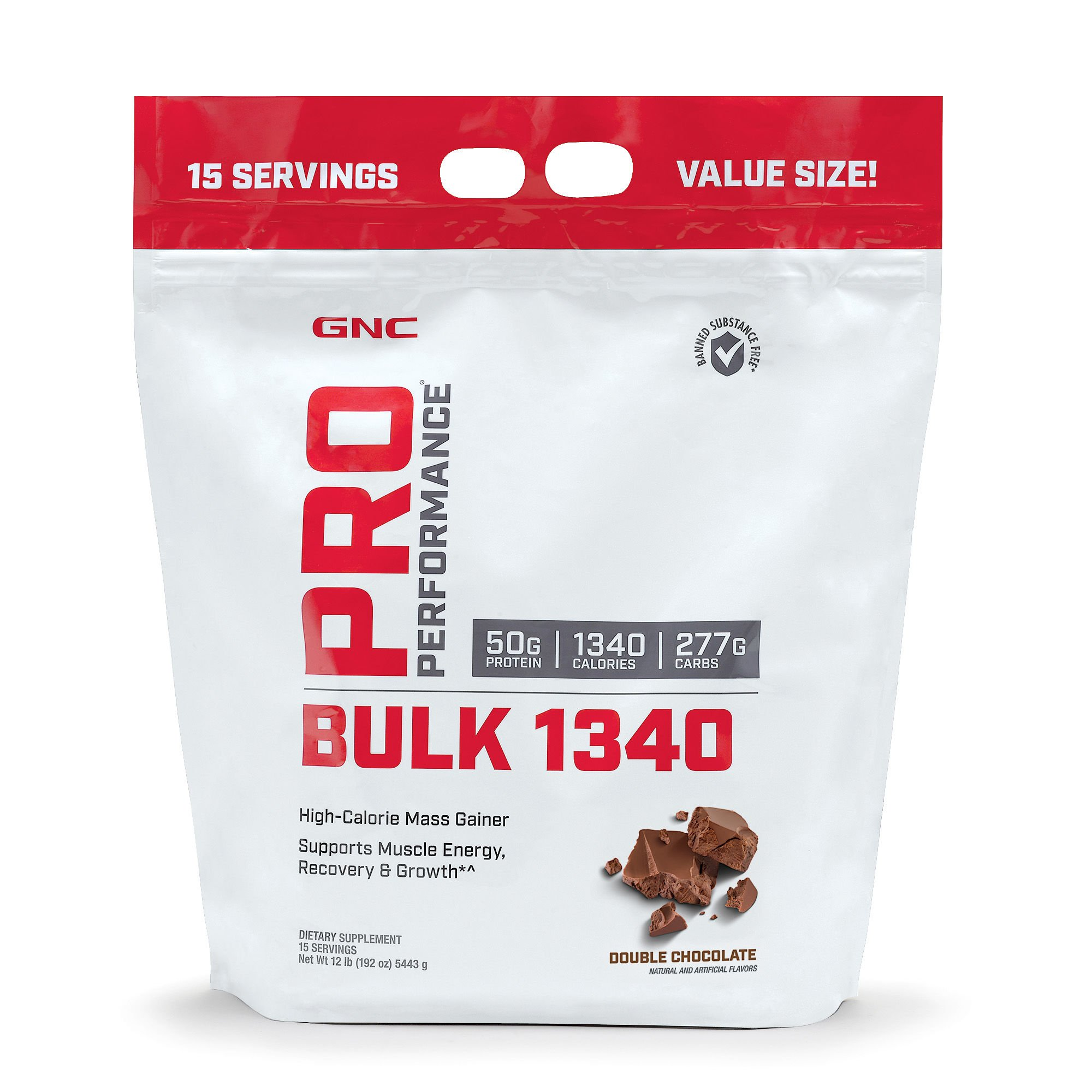 GNC Pro Performance Bulk 1340, Double Chocolate, 12 lbs, Supports Muscle Energy, Recovery and Growth