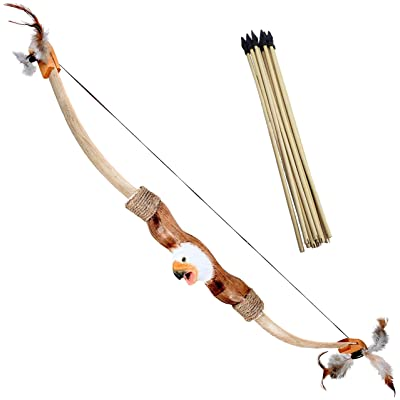 Adventure Awaits! - Handcarved Animal Wooden Bow and Arrow Set - 10 Wood Arrows - for Outdoor Play (Eagle): Toys & Games