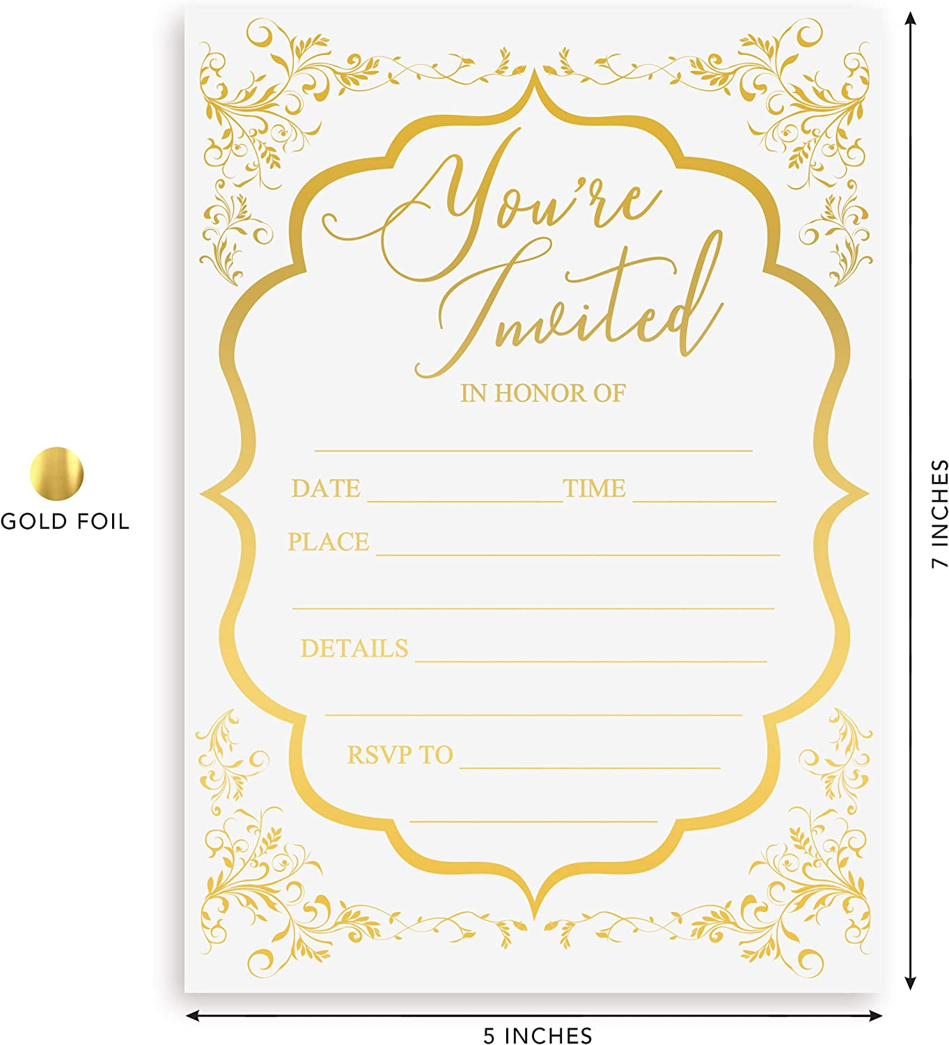 Amazon.com: Fill in Invitations Wedding, Gold Foil - 25 Pack - Wedding  Invitation, Hot Stamp Press. Party Invitations Birthday, Anniversary  Celebration, Bridal or Baby Shower (Invitation Gold 1): Health & Personal  Care