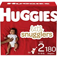 Diapers Size 2 - Huggies Little Snugglers Disposable Baby Diapers, 180ct, One Month Supply