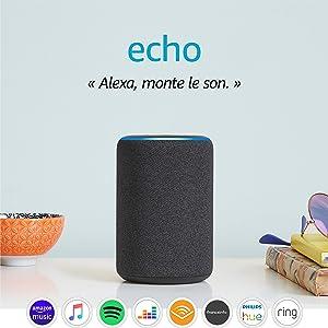 Amazon Echo (3ème génération), Enceinte connectée avec Alexa, Tissu anthracite