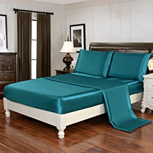 HollyHOME Silky Soft Luxury 4 Piece Deep Pocket Queen Satin Sheet Set, Free Fitted Sheet Straps Included, Teal