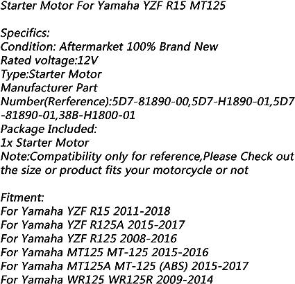 12V Motorino di Avviamento Elettrica Motore Starter Motor per Polaris Yamaha MT125 MT-125 15-16 YZF R15 R125 WR125 WR125R 2009-2014 Artudatech Moto Motorini di Avviamento