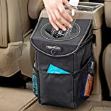 High Road StashAway Console and Headrest Car Trash Can with Lid (Black)