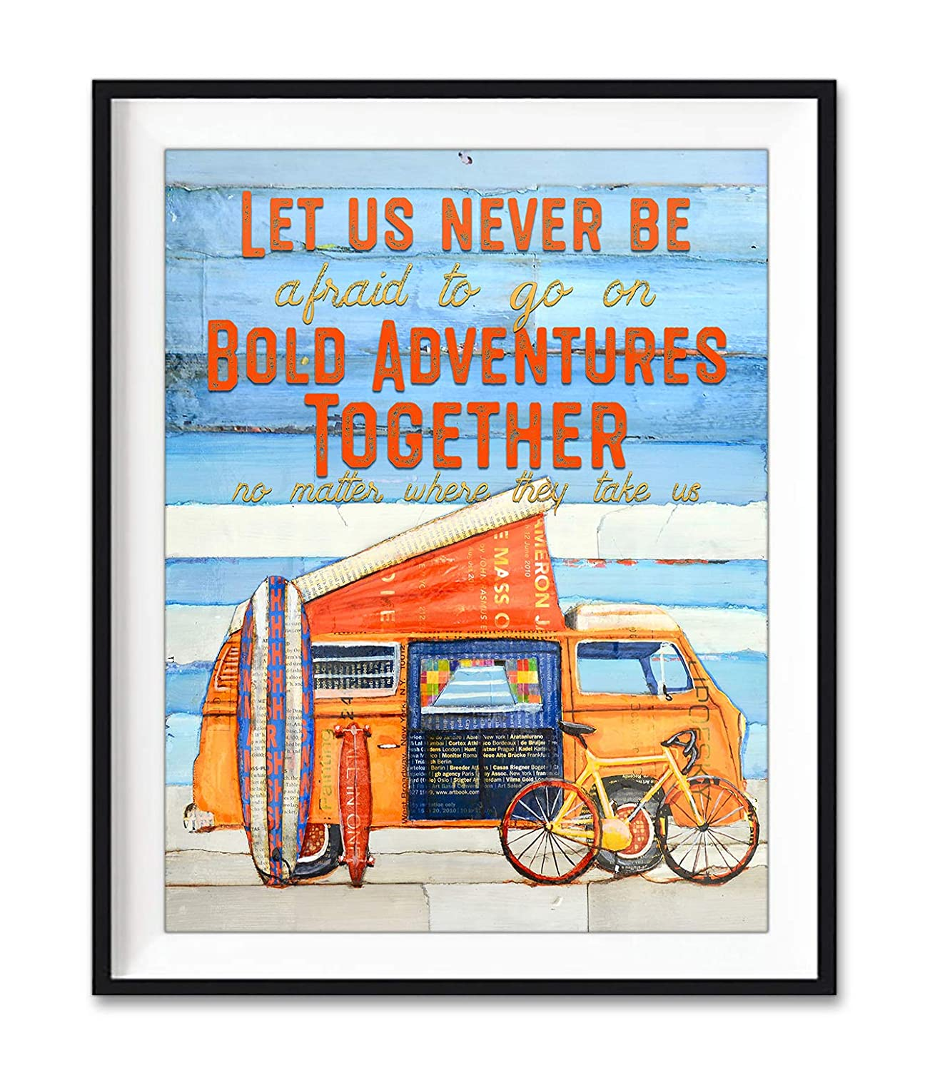 Bold Adventures Together - Danny Phillips Art Print, Unframed, Classic Automobile, Camping Cycling Skateboard Surfboard Wall and Home Decor, Biking, Mixed Media Collage Fine Art, All Sizes
