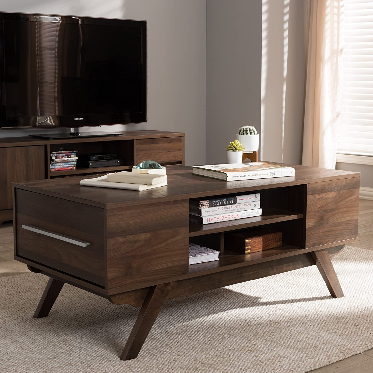 - Amazon.com: Baxton Studio 2-Drawer Coffee Table In Brown Finish