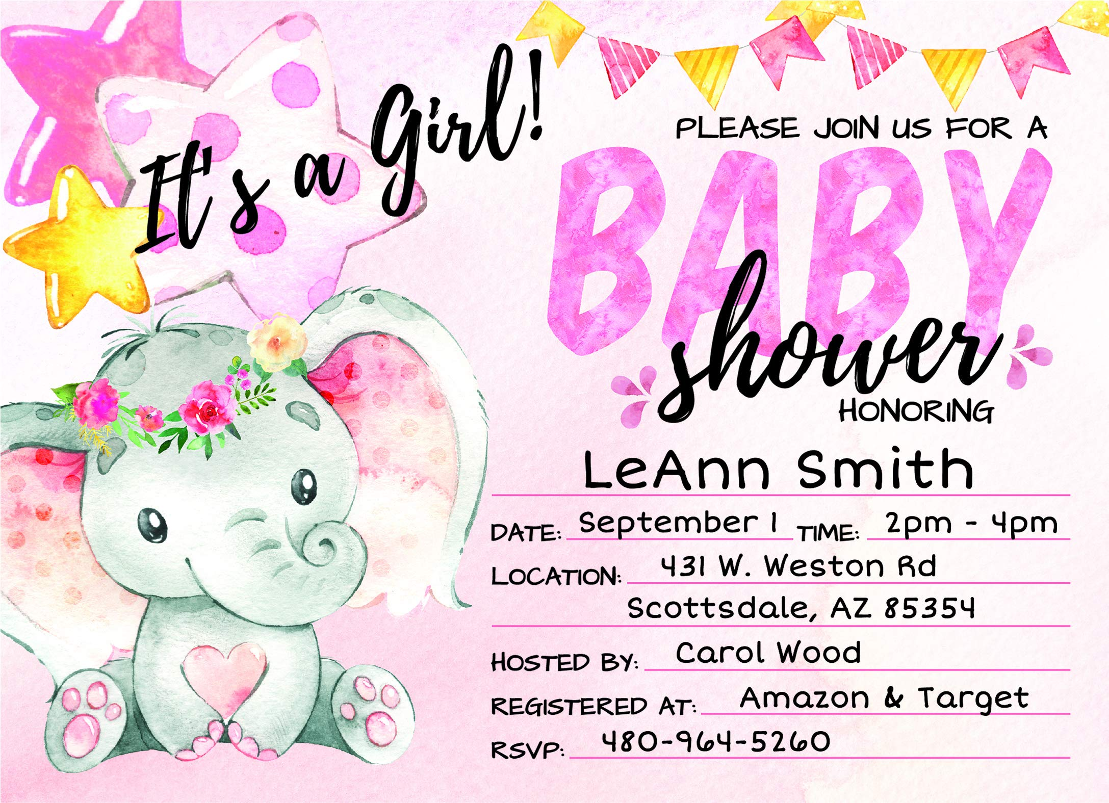 Deluxe Pink Elephant Baby Shower Invitations, Jungle, Tropical Safari Animals, Its A Girl Party Invites, Includes- 20 Each Large Double Sided 5 x 7 Invites, Raffle Tickets, and Book Request Inserts by Pink Pixie Studio (Image #2)