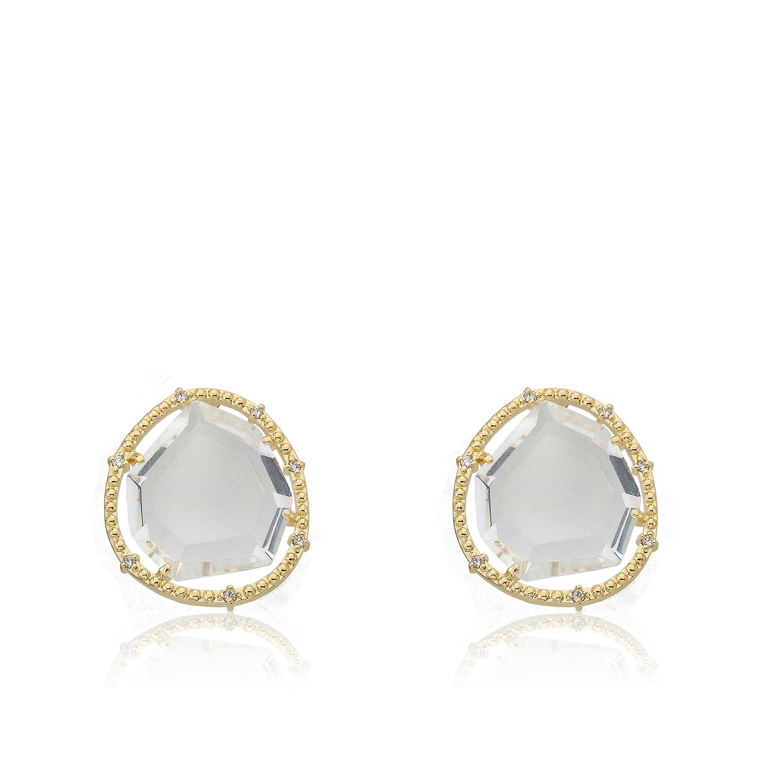 Riccova Sliced Glass 14k Gold-Plated Clear Sliced Glass Stud Earring by Riccova