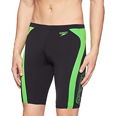 0705d63922 Speedo Male Swimwear Logo Graphic Splice Jammer (809668A833_Black and Fluo  Green_X-Small)