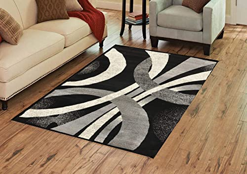 Alida Lopped Gray Black Area Rug 8 x 10