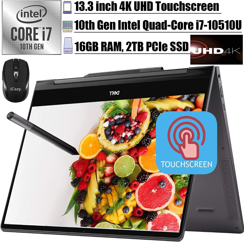 "2020 Latest Dell Inspiron 13 7000 2-in-1 Laoptop 13.3"" UHD 4K Touchscreen Intel 4-Core i7-10510U 16GB RAM 2TB PCIe SSD Backlit FP Thunderbolt3 Active Pen Win10+iCarpWirelessMouse"