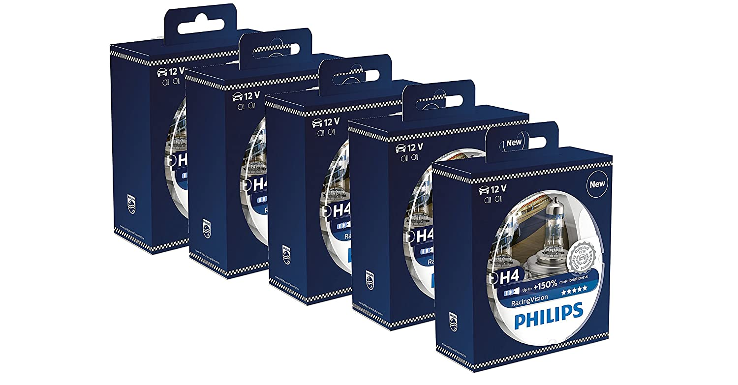 Amazon.com: Philips RacingVision H4 Headlight Bulbs (Twin) 12342RVS2 Xtreme Vision Upgrade Lot of 5 pcs: Automotive