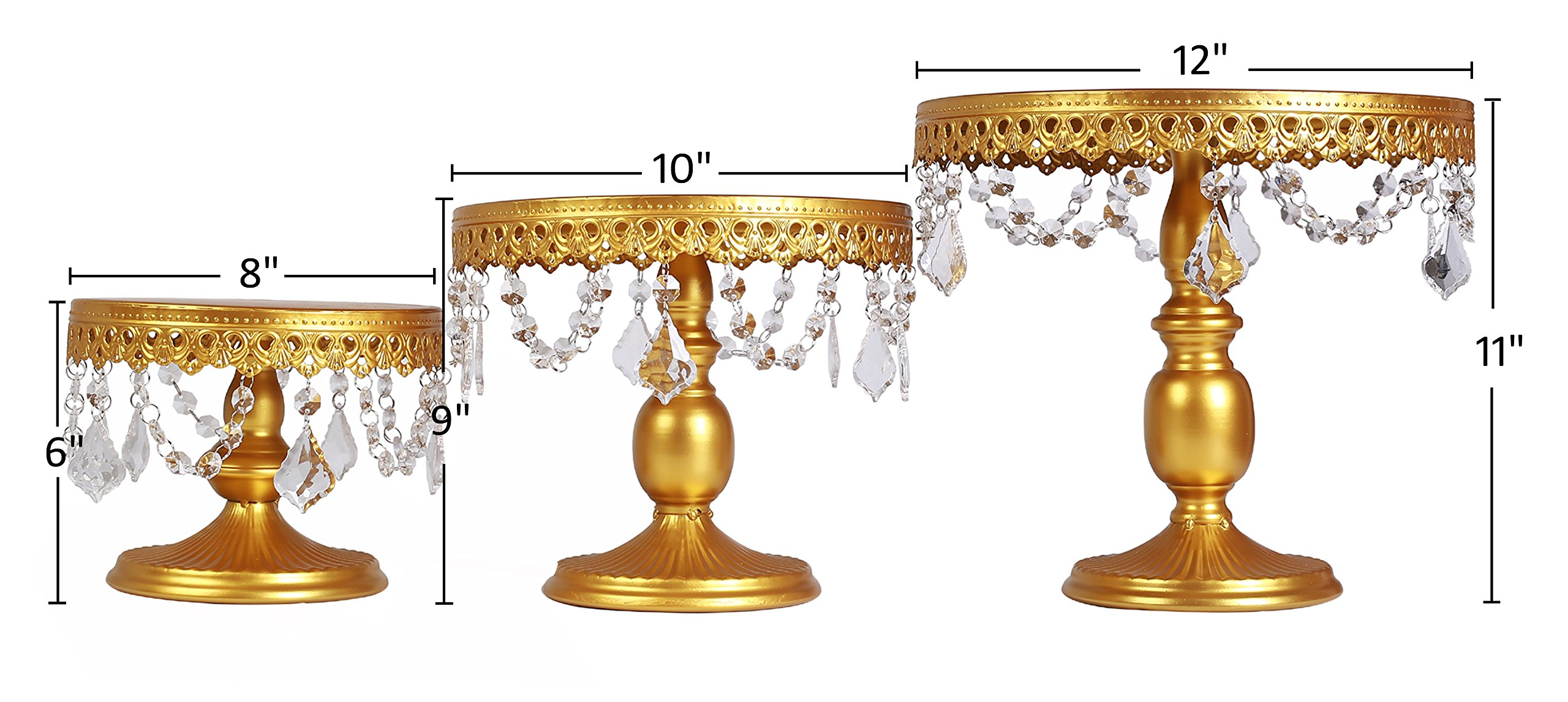 VILAVITA 3-Set Antique Cake Stand Round Cupcake Stands Metal Dessert Display with Pendants and Beads, Gold by VILAVITA (Image #3)