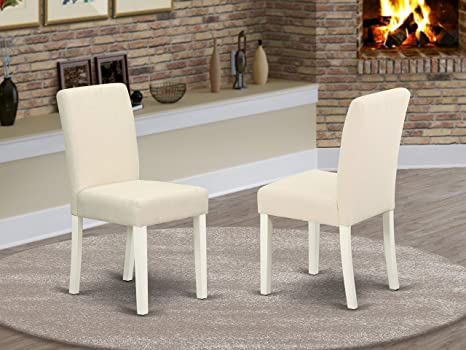 East West Furniture Dining Chairs Set Comfortable Light Beige Linen Fabric Solid Wood Linen White Finish Legs Modern Parsons Chairs Set Of 2 Furniture Decor