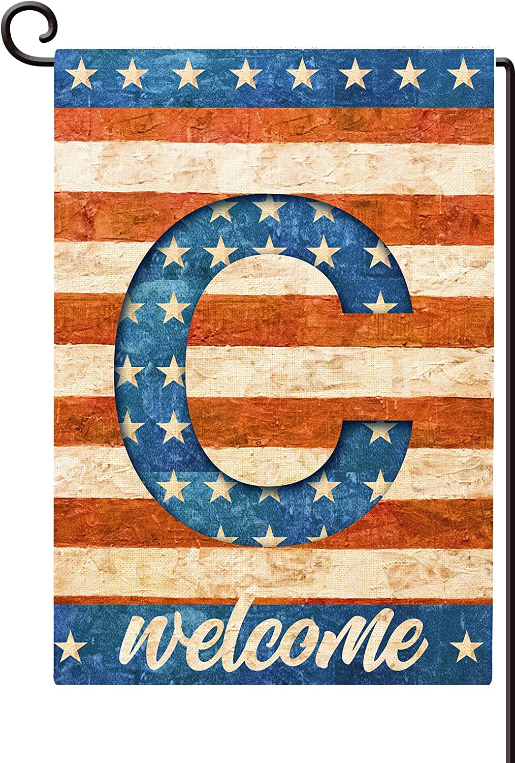 Agantree Art American Patriotic Monogram Letter C Small Garden Flag Waterproof Double Sided Yard Outdoor Decorative 12 x 18 Inch