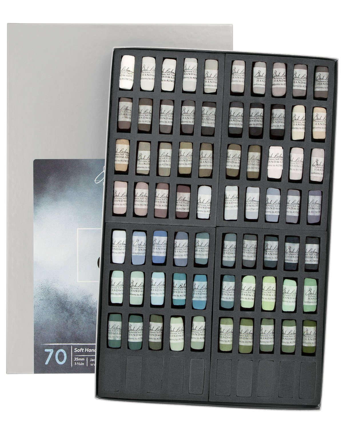 Jack Richeson Hand Rolled Soft Pastels Color Value Greys, 70 Piece Set