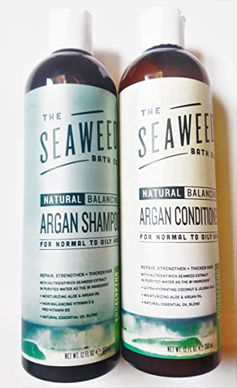 Amazon Com Seaweed Bath Co Balancing Eucalyptus Plant And Peppermint Organic Natural Shampoo And Conditioner Bundle With Argan Oil Sustainable Bladderwrack Seaweed Aloe Vera Essential Oils 12 Fl Oz Each Beauty