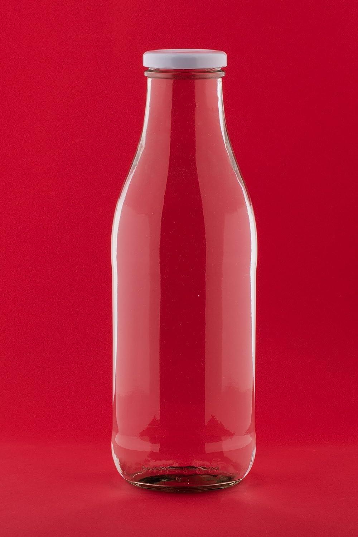 10 pieces 500 ml Glass MILK Bottles Juice Wide Necked Bottle 0.5 Litre L With White Lids- slkfactory SLK GmbH
