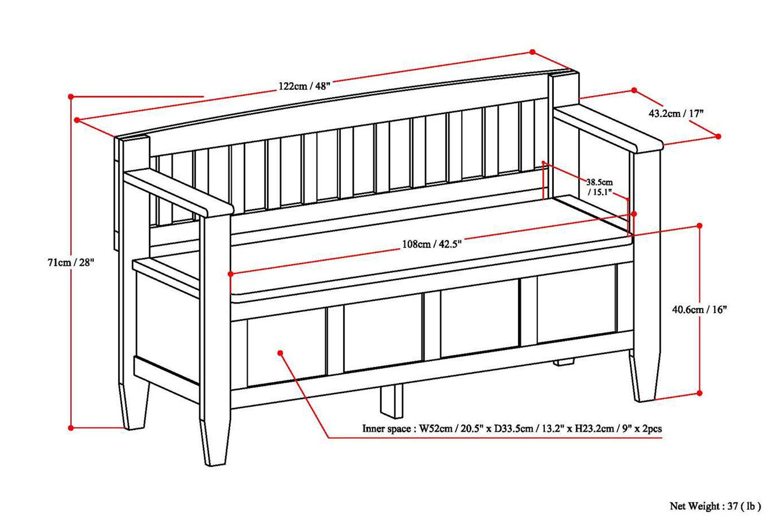 Simpli Home Brooklyn Solid Wood Entryway Storage Bench, Medium Saddle Brown by Simpli Home (Image #8)