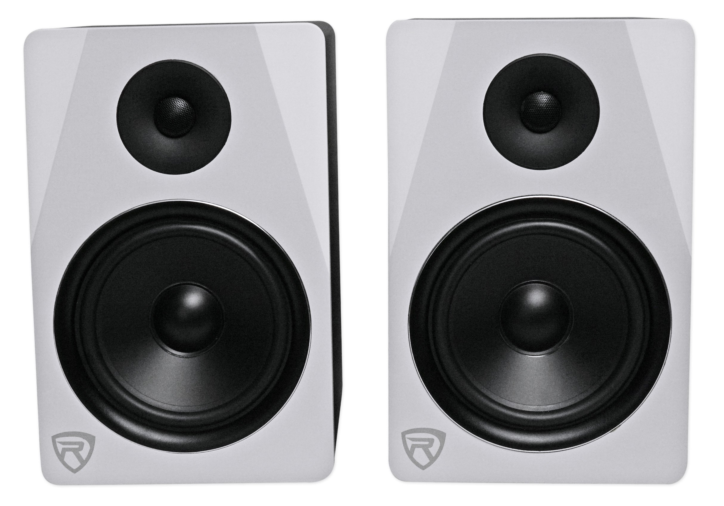 Rockville APM8W 8'' 2-Way 500W Active/Powered USB Studio Monitor Speakers Pair, White