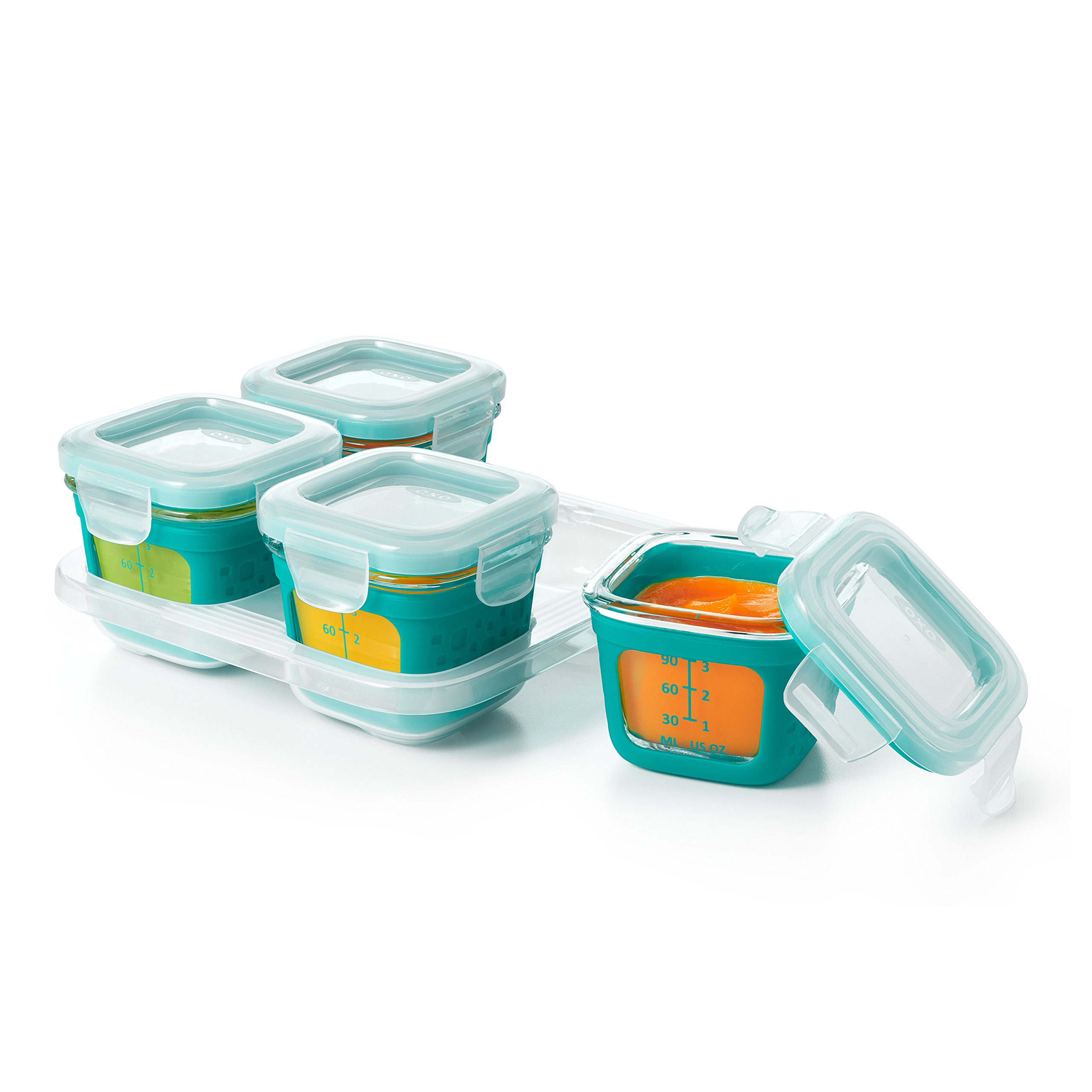 OXO Tot Glass Baby Blocks Food Storage Containers with Silicone Sleeves, Teal, 4 oz