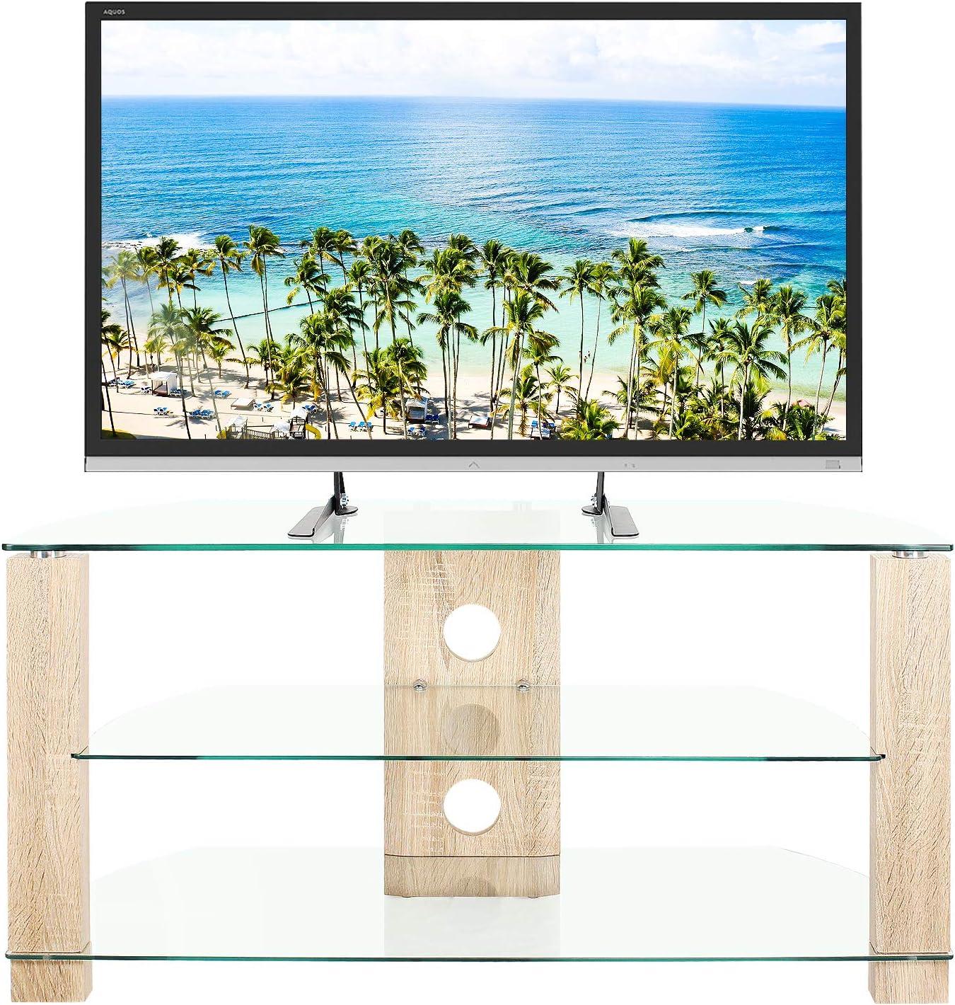 RFIVER Mueble de TV de Esquinero de Cristal de Ancho de 105 con Patas de Roble Mesa para Television hasta 50 Pulgadas con 3 Estantes TS3001