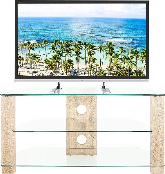 RFIVER Mueble de TV de Esquinero de Cristal de Ancho de 105 con Patas de Roble Mesa para Television hasta 50 Pulgadas con 3 Estantes TS3001: Amazon.es: Electrónica
