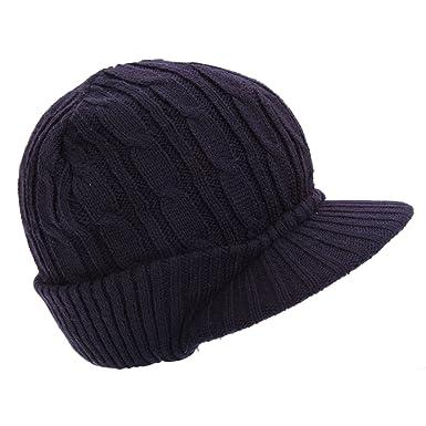 eb62f4b26be Bonnet à visière tricoté - Garçon (Taille unique) (Bleu marine ...