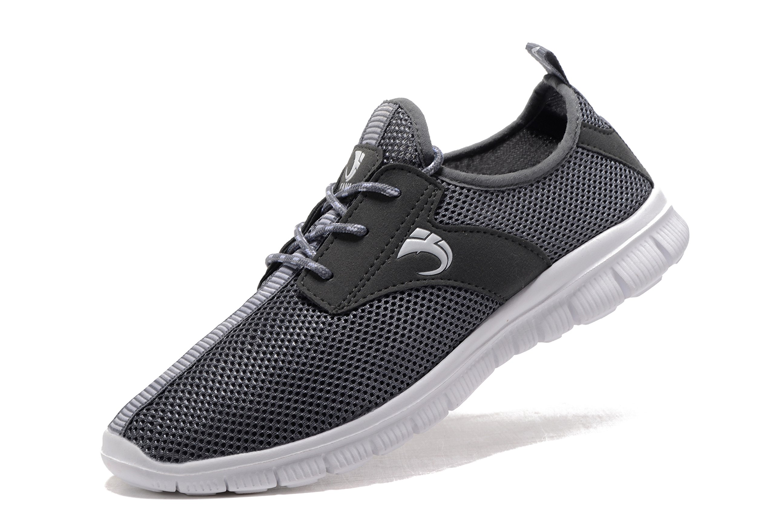 FANIC Men's Walking Shoes Workout Shoes Full Mesh Running Shoes Lightweight Comfortable Fitness Breathable Casual Sneaker (47 M EU / 12.5 D(M) US, Grey) by FANIC (Image #1)