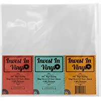 """Invest In Vinyl 100 Clear Plastic Protective LP Outer Sleeves 3 Mil. Vinyl Record Sleeves Album Covers 12.75"""" x 12.5…"""