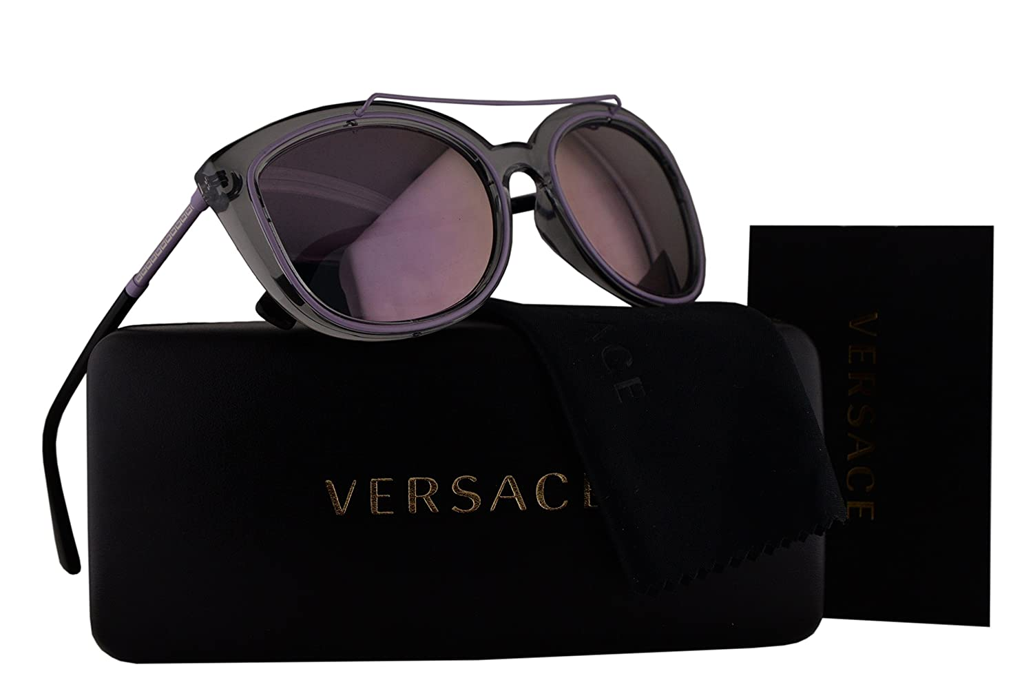 dc0a1485012 Amazon.com  Versace VE4336 Sunglasses Gray Crystal w Pink Mirror Lens 52545R  VE 4336  Home   Kitchen